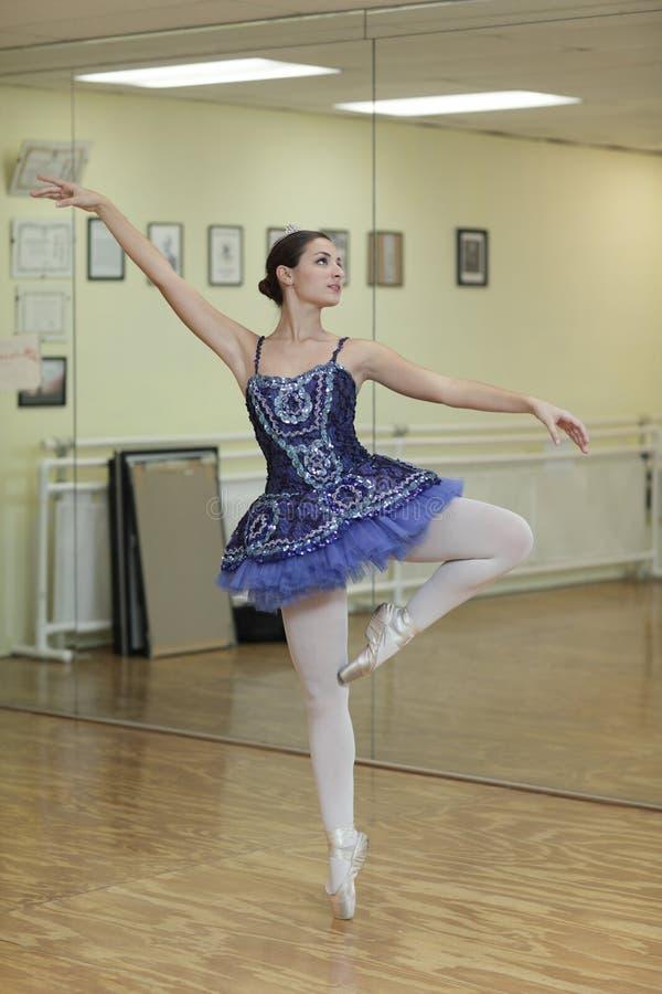芭蕾舞女演员蓝色芭蕾舞短裙 免版税图库摄影