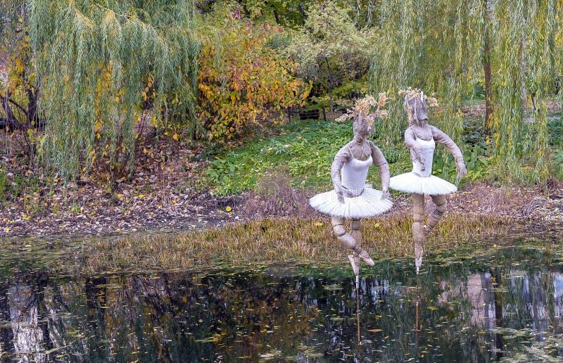 芭蕾舞女演员超现实的图在湖在城市公园 免版税库存照片