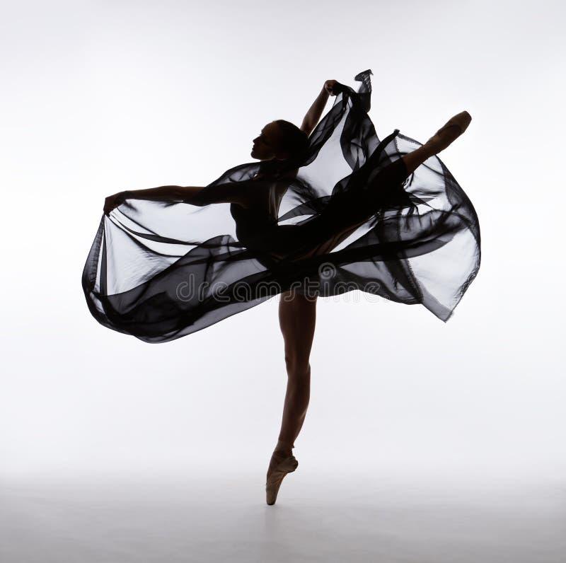 芭蕾舞女演员跳舞与飞行布料 免版税库存照片