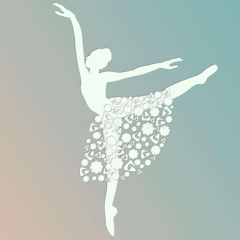 芭蕾舞女演员跳舞,白色剪影,被隔绝的传染媒介, 向量例证