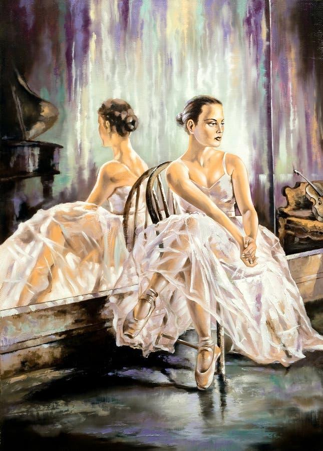 芭蕾舞女演员镜子最近的开会 免版税图库摄影