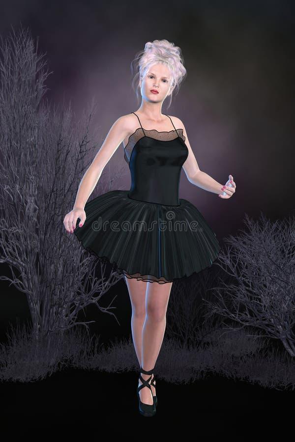 芭蕾舞女演员黑色丝绸芭蕾舞短裙 免版税库存照片