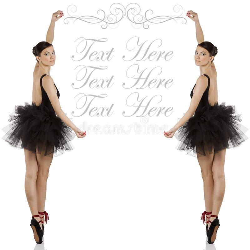 芭蕾舞女演员黑色copyspace 免版税库存图片