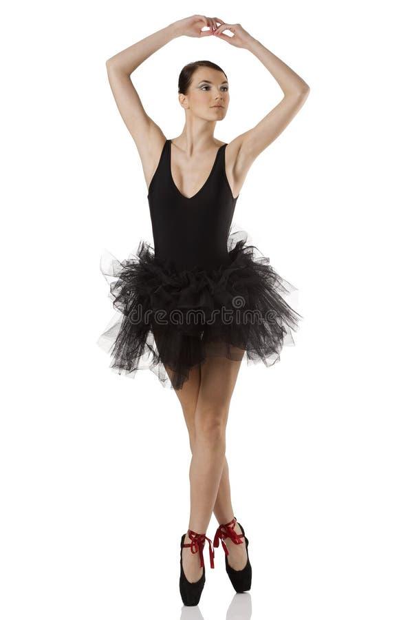 芭蕾舞女演员黑色pointe 库存照片
