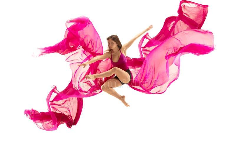 芭蕾舞女演员 在白色演播室的年轻优美的女性跳芭蕾舞者跳舞 经典芭蕾秀丽  库存照片