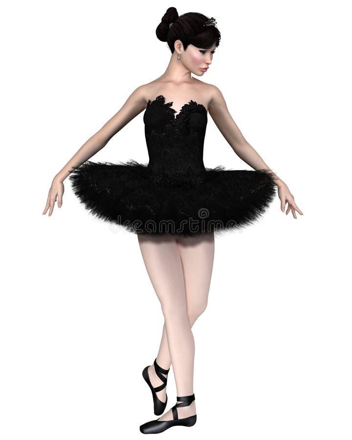 芭蕾舞女演员黑天鹅 库存例证
