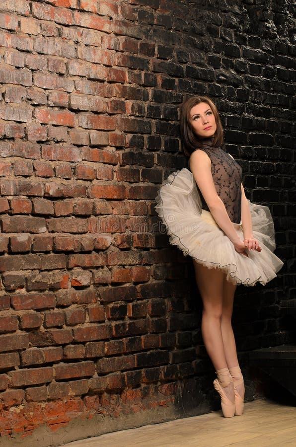 芭蕾舞短裙裙子经典之作立场的芭蕾舞女演员 免版税库存图片