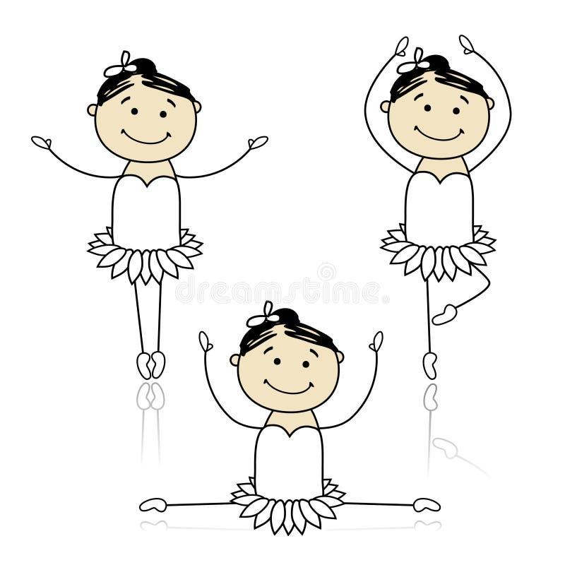 芭蕾逗人喜爱的舞蹈演员设计您的一&# 库存例证