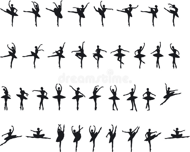 芭蕾silouettes 向量例证