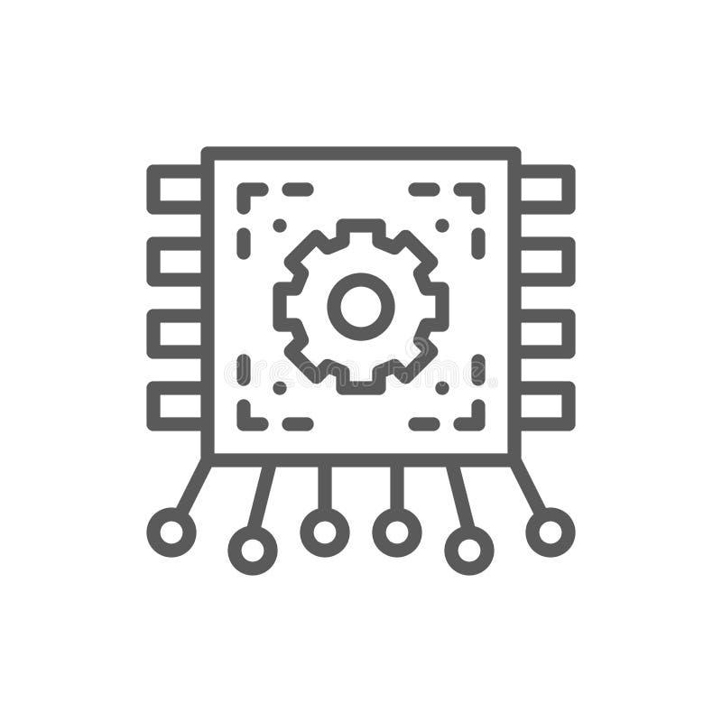 芯片,有联络的主板,电路板线象 库存例证