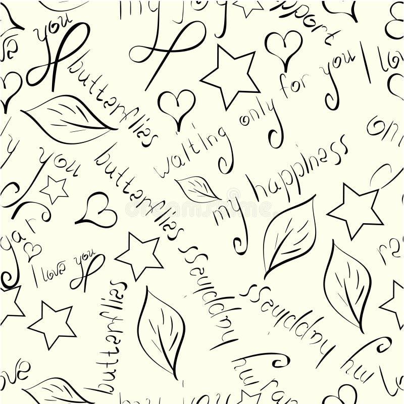 花、叶子、星和爱词组手拉的黑剪影的无缝的样式在米黄背景 库存例证