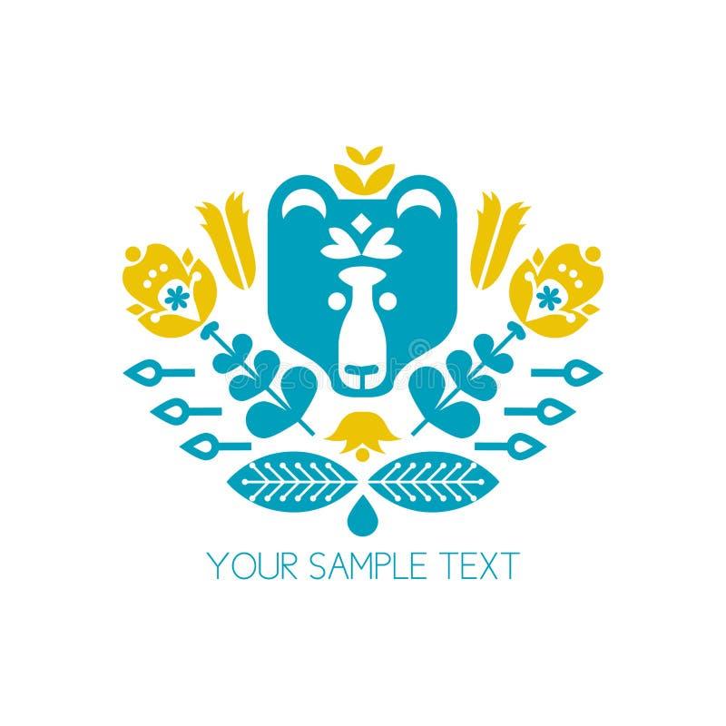 花、植物、动物和鸟 以心脏的形式构成 设计T恤杉,贴纸,标记,标签,商标 向量例证