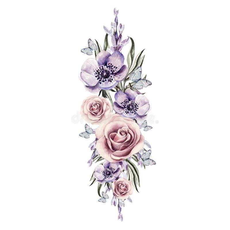 花、银莲花属和玫瑰花束  库存例证