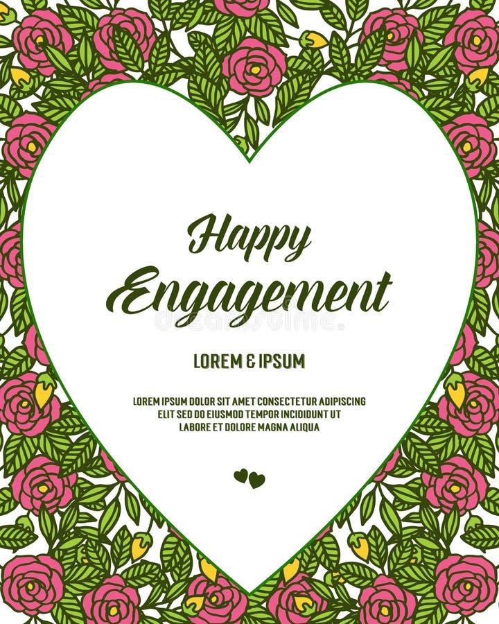 花与在愉快的订婚上写字的花框架的传染媒介例证 向量例证