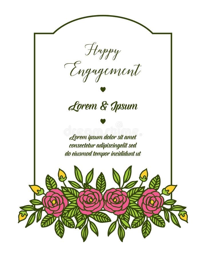 花与在愉快的订婚上写字的花框架的传染媒介例证 皇族释放例证