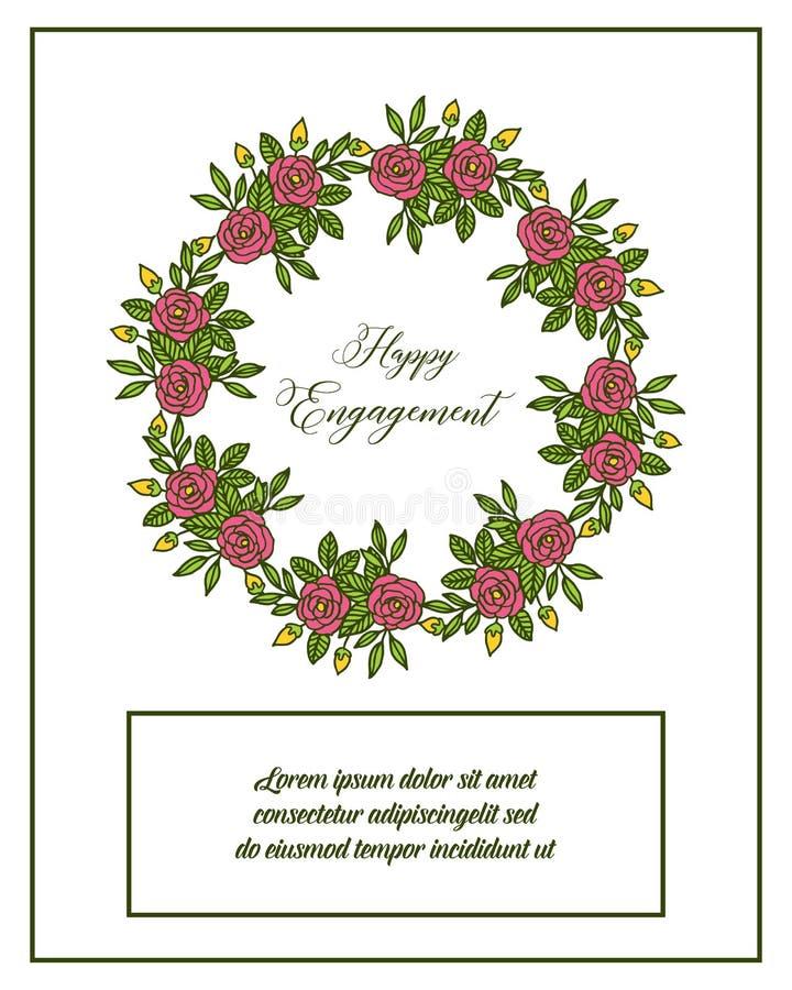 花与在愉快的订婚上写字的花框架的传染媒介例证 库存例证