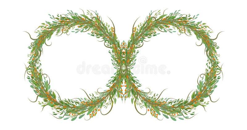 花两个圈子与叶子,无限标志的 向量例证