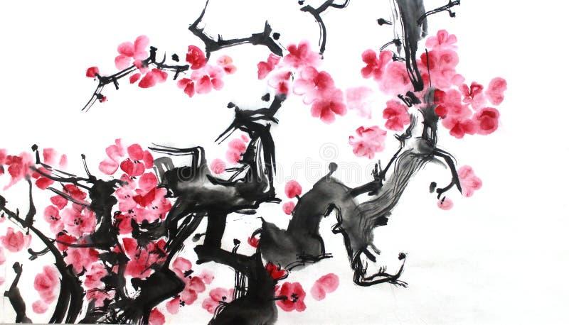 花中国墨水绘画,李子开花,在白色背景 向量例证
