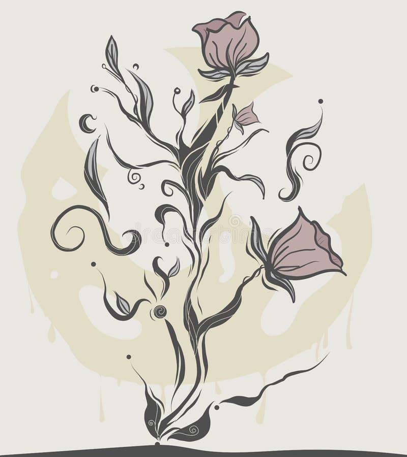 花主题传染媒介 平的传染媒介花设计 纹身花刺的花 向量例证