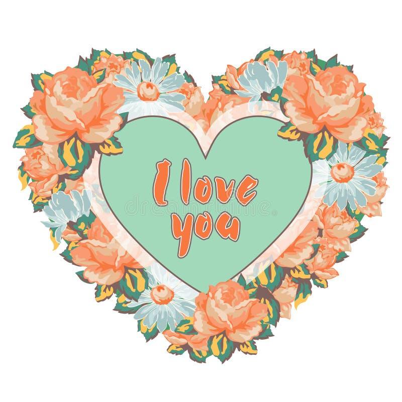 花五颜六色的玫瑰和雏菊花圈以心脏的形式与在白色背景我爱你隔绝的题字,ha 皇族释放例证
