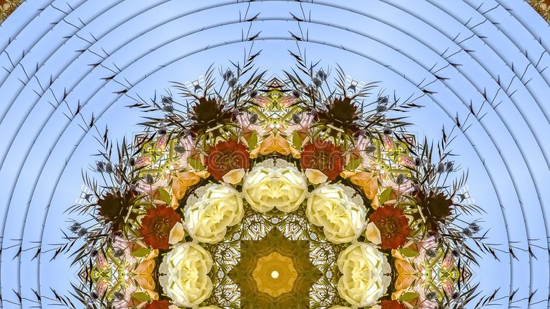 花全景抽象显示在圆安排的在婚礼在加利福尼亚 免版税库存图片