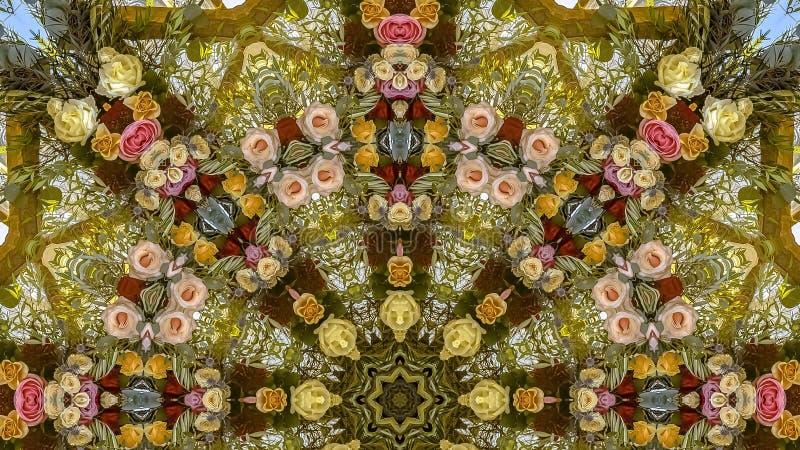 花全景框架五颜六色的显示在圆安排的在婚礼在加利福尼亚 向量例证