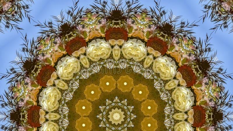 花全景框架大显示在圆安排的在婚礼在蓝色背景的加利福尼亚 免版税库存图片