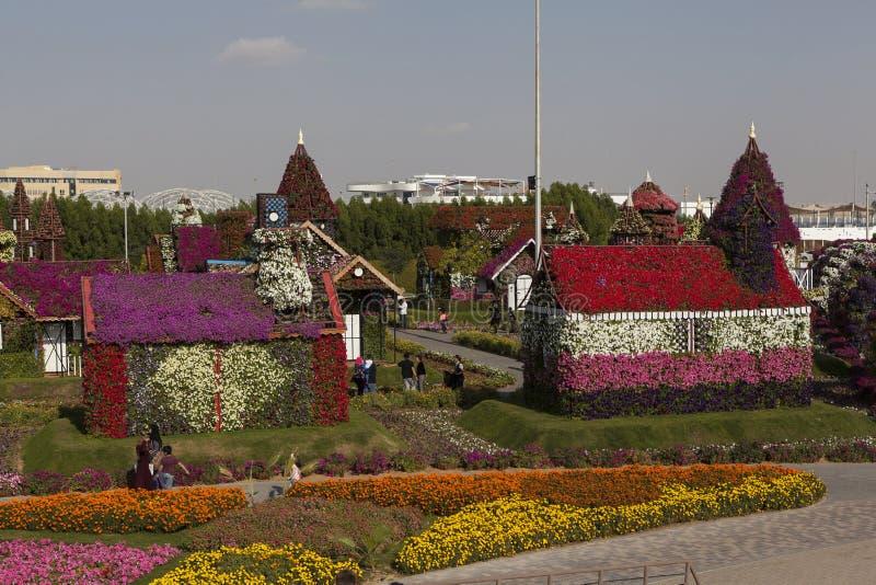 花公园在迪拜(迪拜奇迹庭院) 阿拉伯酋长管辖区团结了 库存照片