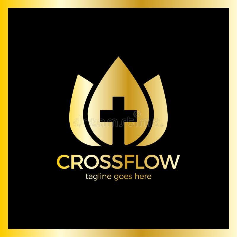 花冠十字架商标-教会受难象 向量例证
