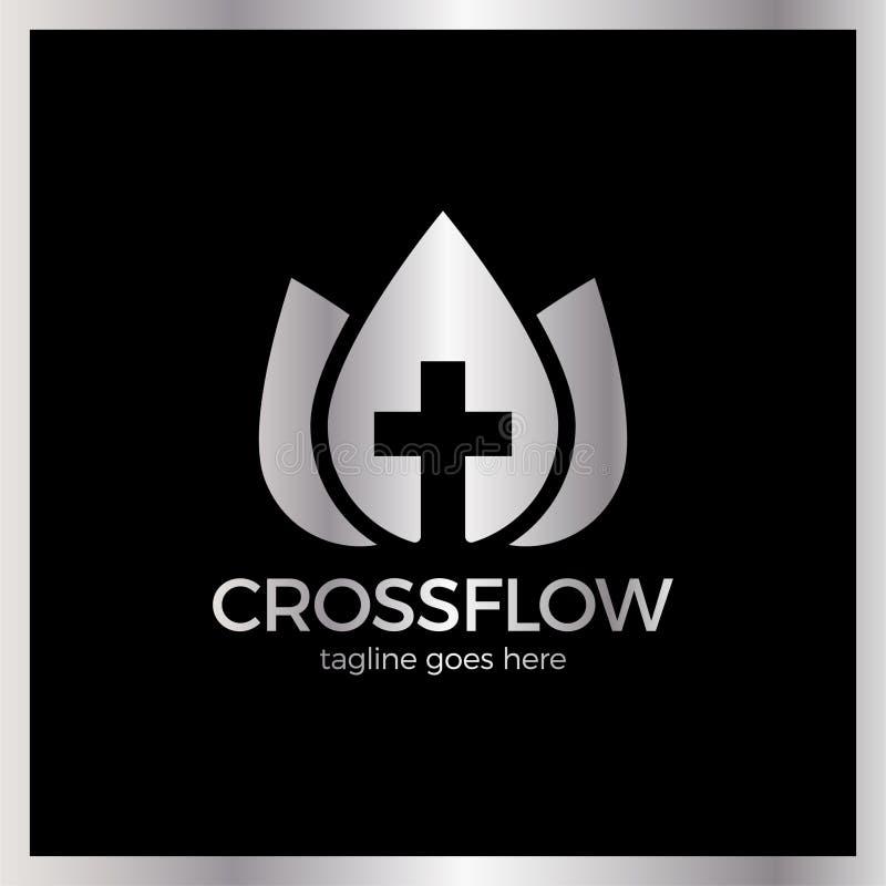 花冠十字架商标-教会受难象 库存例证