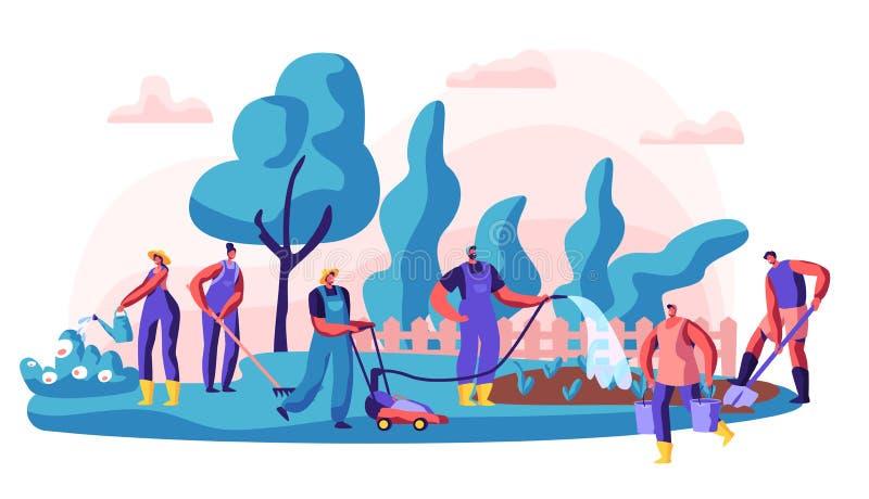 花匠关心住宅疆土 字符浇灌布什和花,开掘和与割草机一起使用 皇族释放例证