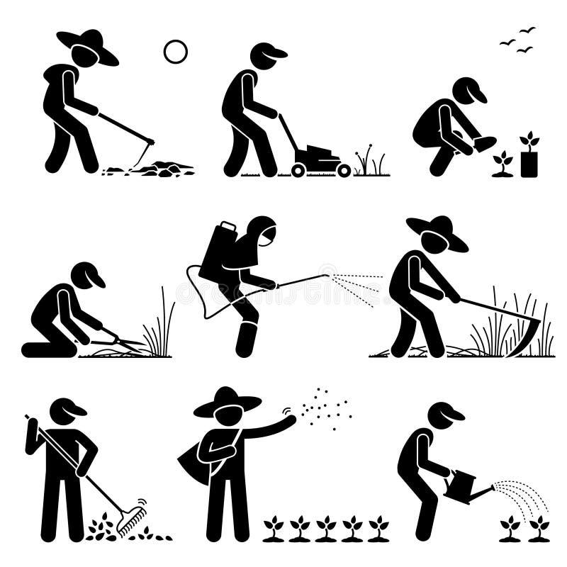 花匠和农夫Clipart 向量例证