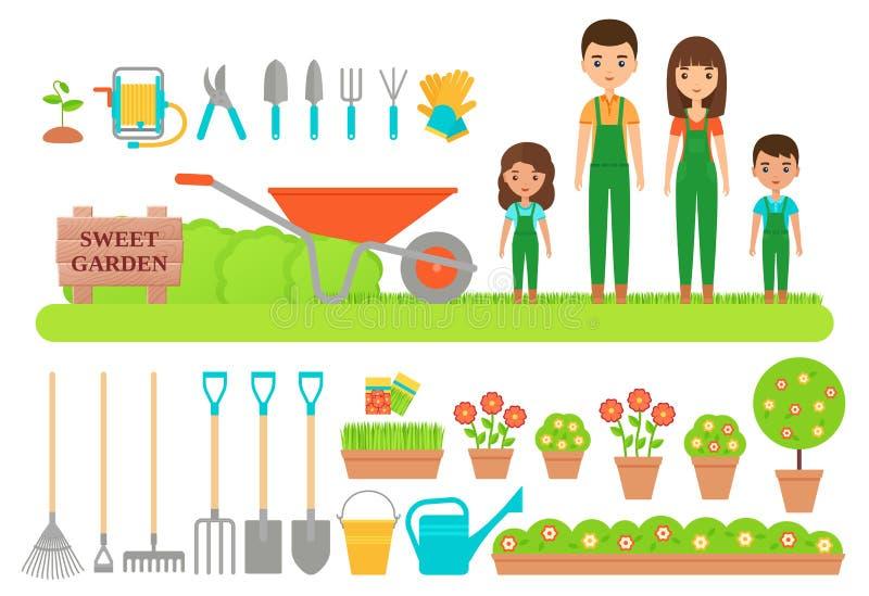 花匠字符,园艺工具 传染媒介平的例证 库存例证