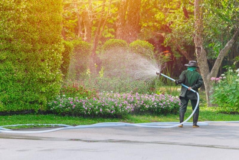 花匠工作者浪花浇灌的树和植物 免版税库存图片