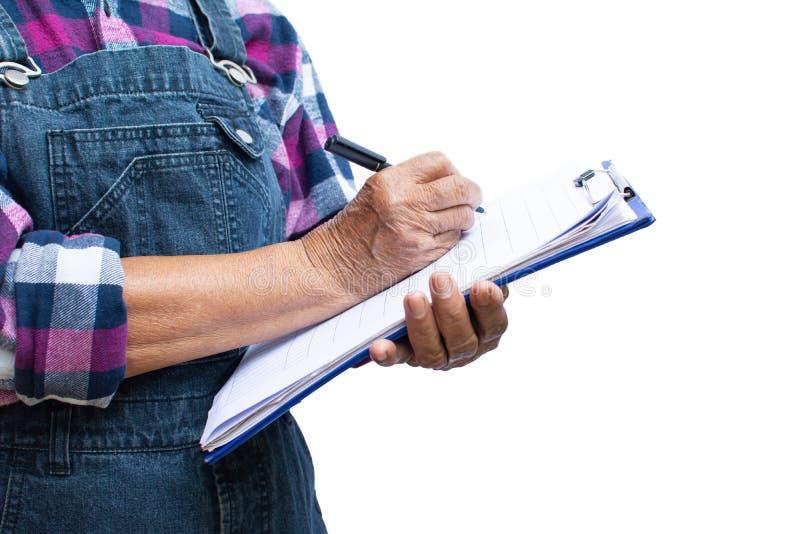 花匠白垩粉的手报告关于白色 免版税库存图片
