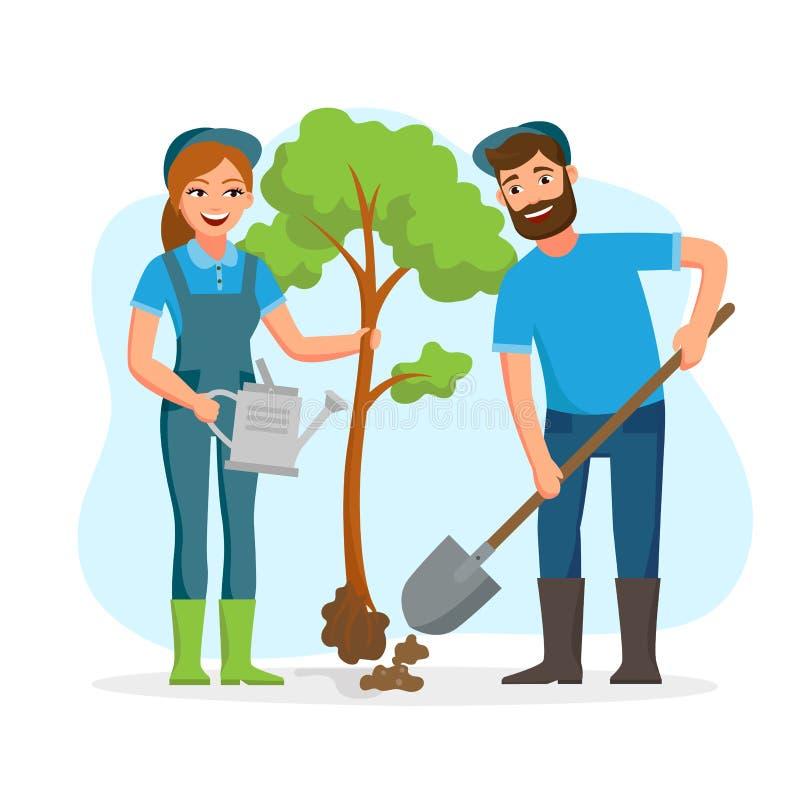 花匠,种植在公园传染媒介平的illusration的农夫夫妇树隔绝在白色背景 年轻 向量例证