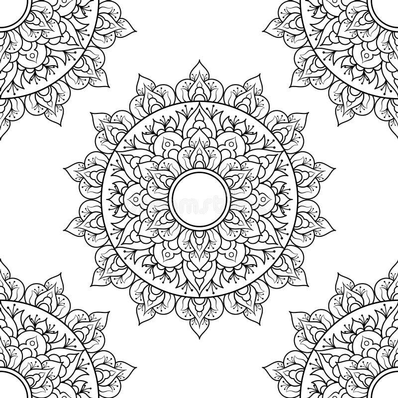 无缝图案曼陀罗装饰 花曼达拉 复古装饰元素 手绘东方背景 花 库存例证