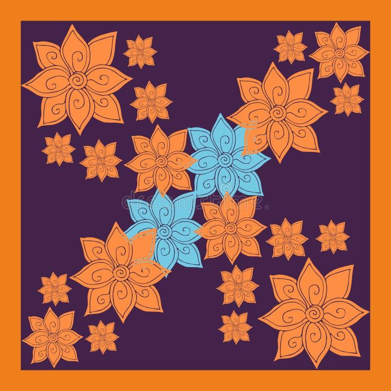 花卉丝绸围巾或班丹纳花绸印刷品与明亮的橙色和蓝色花 向量例证