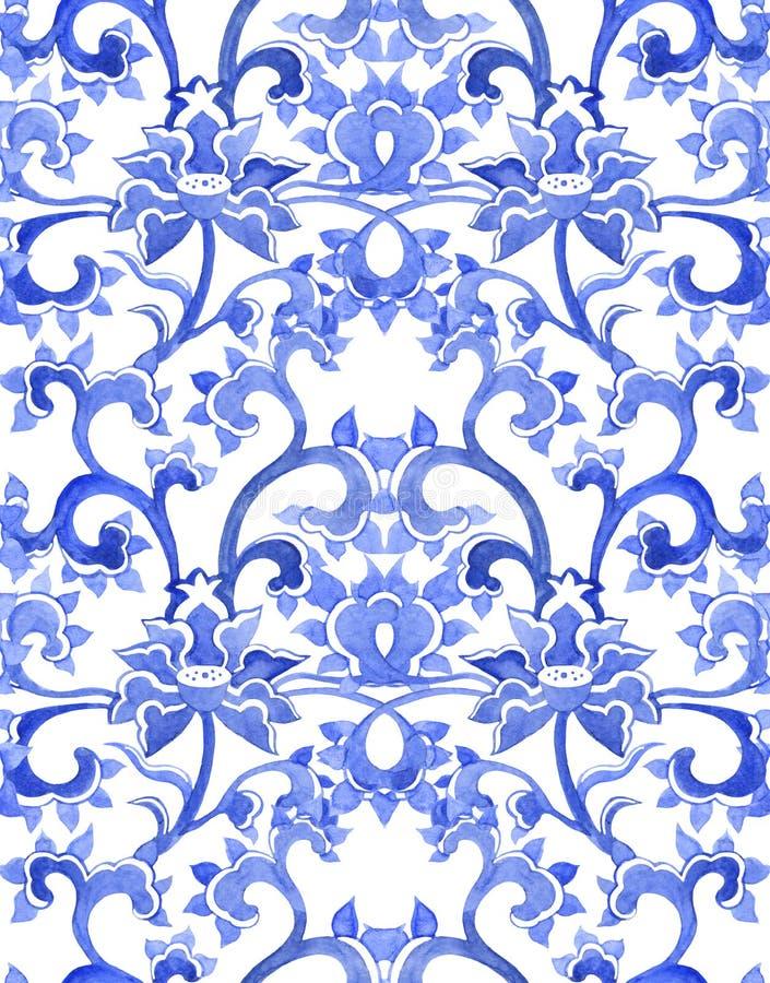 花卉中国装饰重复的样式 库存例证