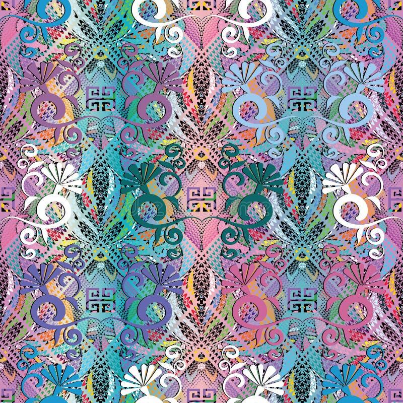 花卉五颜六色的希腊人3d无缝的样式 传染媒介难看的东西beautif 皇族释放例证