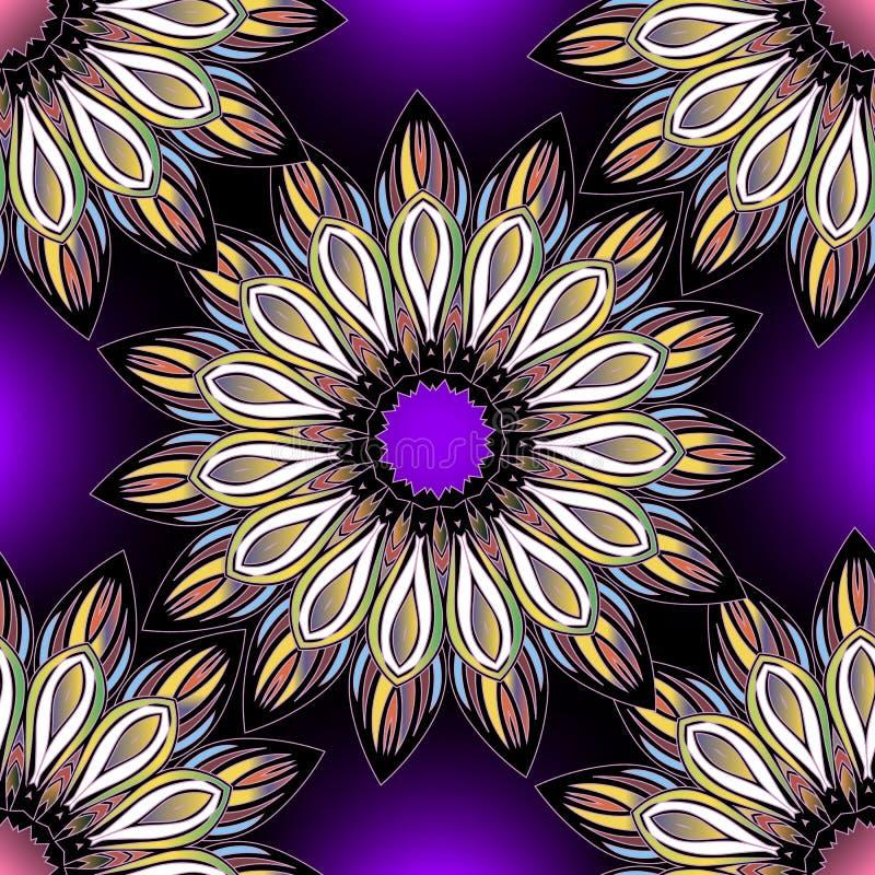 花卉五颜六色的装饰无缝的样式 圆的种族样式明亮的传染媒介坛场 摘要高雅多色花 库存例证