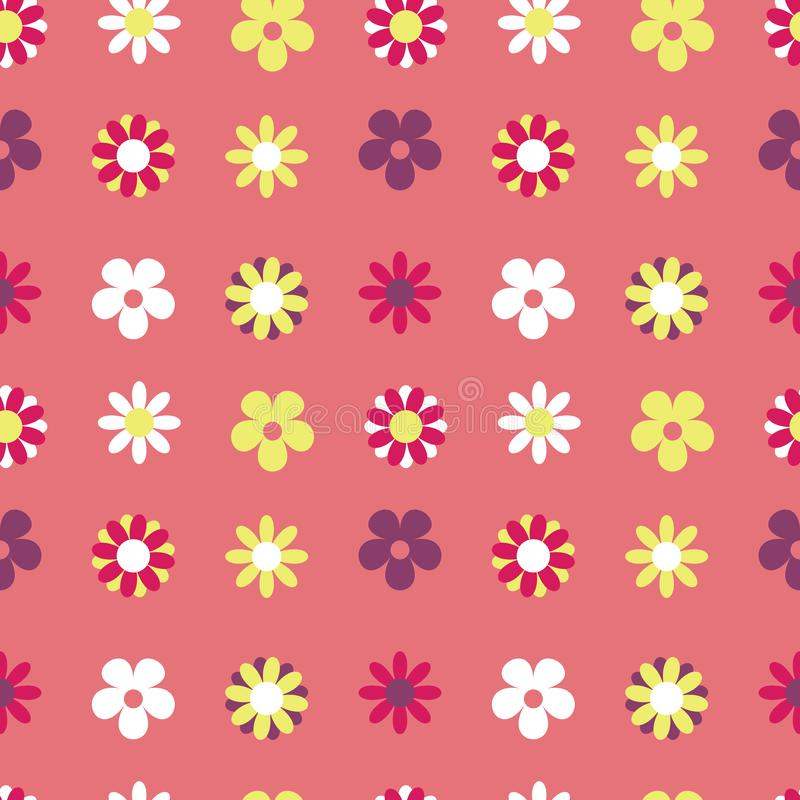 花卉传染媒介无缝的样式桃红色栅格嬉皮 库存例证