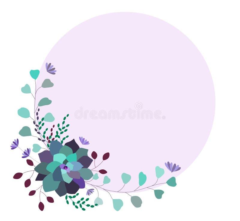 花卉传染媒介时髦框架,模板,边界 典雅,时髦多汁植物和叶子 向量例证