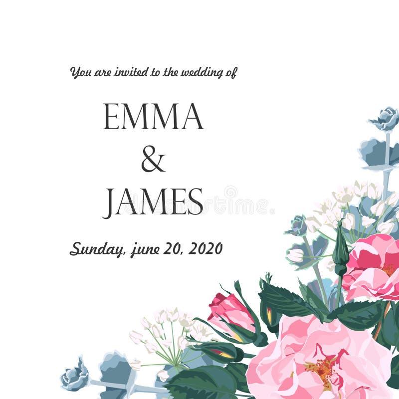 花卉典雅邀请卡片设计:庭院花桃红色犬蔷薇,嫩绿叶 向量例证