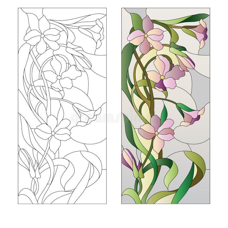 花卉冰屑玻璃样式 皇族释放例证