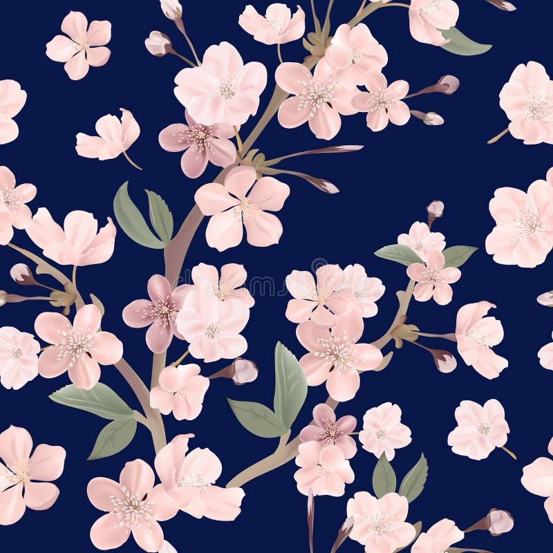 花卉减速火箭的无缝的样式、樱桃或者佐仓开花背景,淡色葡萄酒例证 库存例证