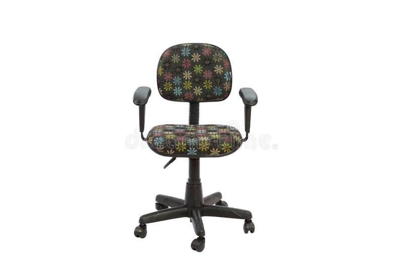 黑花卉办公室椅子 库存图片