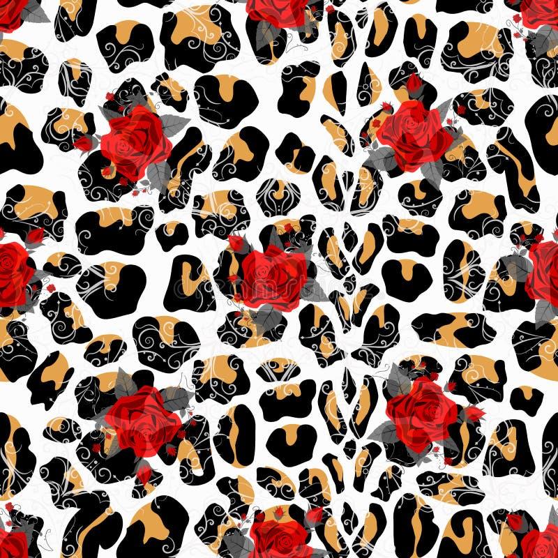 花卉动物无缝的设计印刷品 豹子纹理和花花束 红色玫瑰,伯根地红色牡丹,白色银莲花属, 库存例证