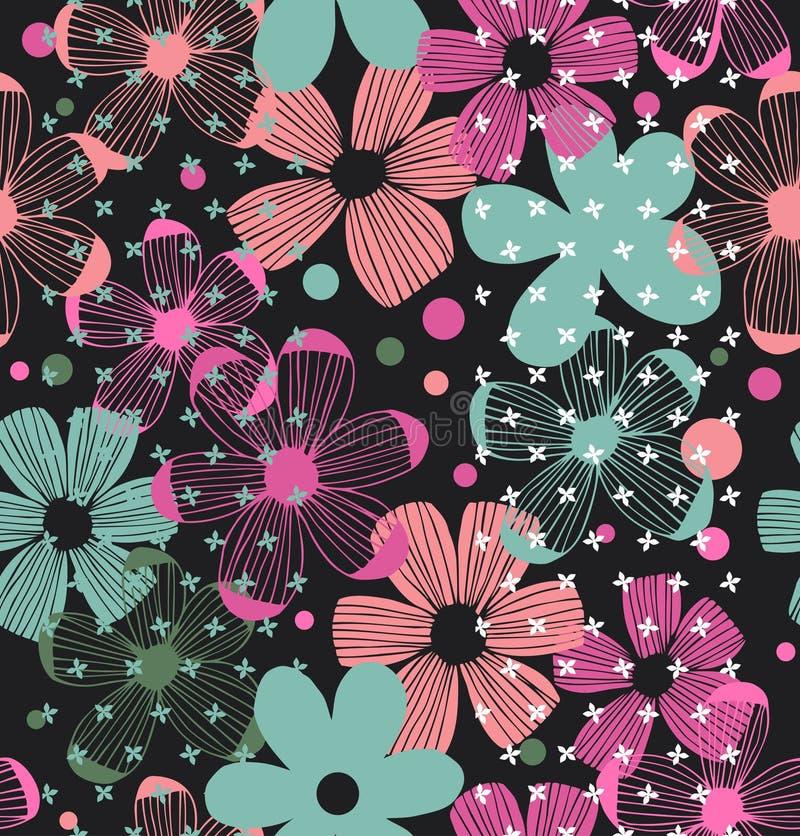 花卉华丽与秀丽的样式无缝的浪漫设计开花 向量例证