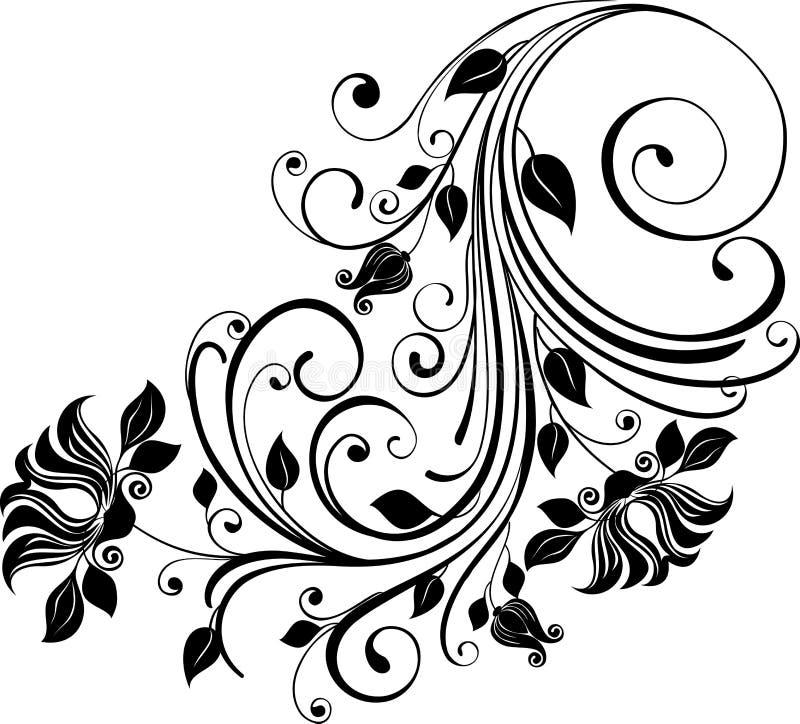 花卉单色装饰品 库存例证